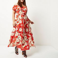 Robe longue rouge à imprimé floral et encolure style Bardot grande taille Plus - vêtements grande taille - femme