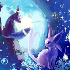 Umbreon and Espeon Painting