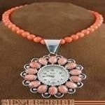 Navajo American Indian Jewelry Pink Coral Bead Necklace and Sterling Silver Pink Coral Watch Pendant