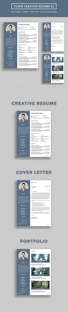 Clean Creative Resume v2  - Resumes Stationery Template PSD. Download here: http://graphicriver.net/item/clean-creative-resume-v2-/16703232?s_rank=77&ref=yinkira