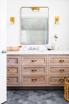 Chic Coastal Home by Tharon Anderson, Brass Details, Bathroom