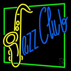 Jazz Club With Saxophone Neon Sign 24 Tall x 24 Wide x 3 Deep, is 100% Handcrafted with Real Glass Tube Neon Sign. !!! Made in USA !!!  Colors on the sign are Blue, Green and Yellow. Jazz Club With Saxophone Neon Sign is high impact, eye catching, real glass tube neon sign. This characteristic glow can attract customers like nothing else, virtually burning your identity into the minds of potential and future customers.