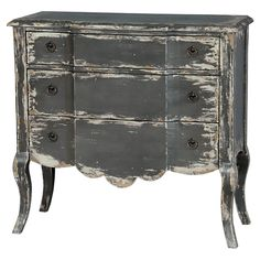 Distressed grey finish chest.