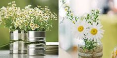 Mix it up with a white flower and babies breath. All in jars though. Maybe gold tins?
