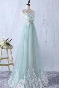 Beautiful Elegant Tulle Long Spaghetti Straps Formal Gowns, A-line Tulle Party Dress, Pretty Party Dresses - Prom Dresses - Beautiful Elegant Tulle Long Spaghetti Straps , A-line Tulle , Pretty - Mint Prom Dresses, Junior Prom Dresses, Prom Dresses For Teens, Tulle Prom Dress, Cute Dresses, Beautiful Dresses, Party Dress, Long Dresses, Elegant Dresses
