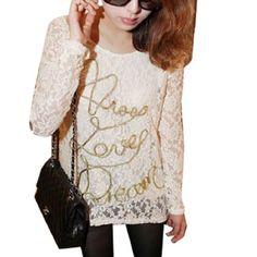 Allegra K Women Letter Decor Front Lace Blouse Gold Tone White XS Allegra K. $12.07