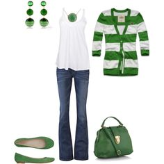 Stripes and cardigan. Love the  GREEN!!!