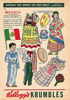 paper doll - mexico by sonobugiardo, via Flickr * The International Paper Doll Society by Arielle Gabriel for all paper doll and paper toy lovers. Mattel, DIsney, Betsy McCall, etc. Join me at ArtrA, #QuanYin5 Linked In QuanYin5 YouTube QuanYin5!