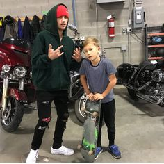 """""""Teaching my lil bro @jaxonbieber how to sk8 . Well.... as well as I know how, until he gets better…"""""""