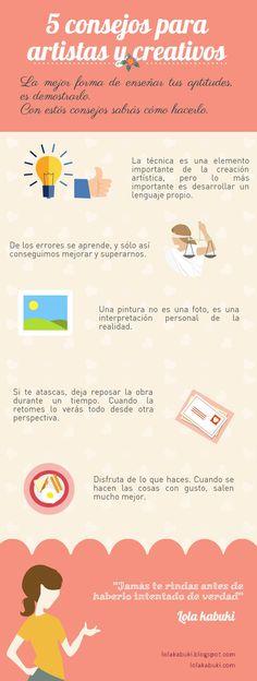 5 CONSEJOS PARA ARTISTAS Y CREATIVOS #love #art #watercolor #paintings #illustration #infografía