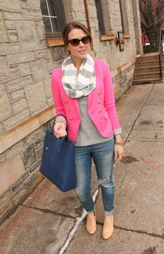 Love the shirt, jeans, purse, scarf, and color of the blazer but not overly crazy about blazers. Maybe a cute cardigan in the same color. Im not too crazy about those shoes so those shoes would have to go too. Maybe a pair of pink or white flats instead.