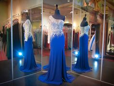 Royal Blue Evening Prom Dress-Beaded Neckline-Open Back