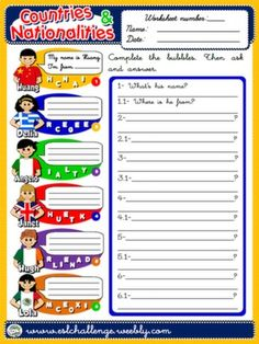 #COUNTRIES AND NATIONALITIES - WORKSHEET 3