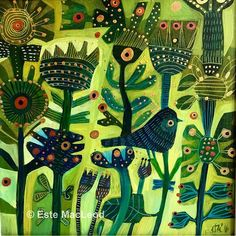 'Green day' #painting 40x40cm #goldenacrylics on deep stretched canvas or…