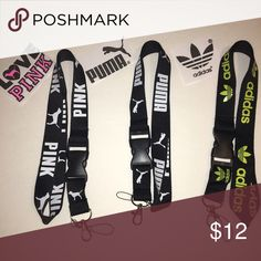 3 lanyard PINK/ PUMA/ Adidas All 3 lanyards included. Not accepting offers or trade Adidas Accessories Key & Card Holders