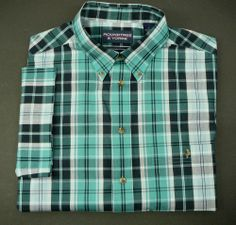 ROUNDTREE & YORKE Mens shirt L Free Shipping SS green plaid short sleeve #RoundtreeYorke #Button Front  SAVE $
