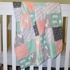 Ready to Ship  Bear and Buck Forest Mint and Peach Baby Quilt