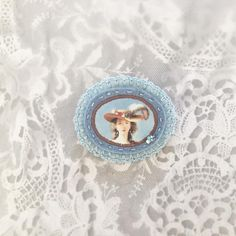 by part of my collection, just perfect to spice up a neutral jacket, or cardigan. Stitch Lab, Victorian Portraits, Felt Brooch, Brooch Pin, Cameo Jewelry, Old Paintings, Pastel Blue, Beautiful Roses, Gift For Lover