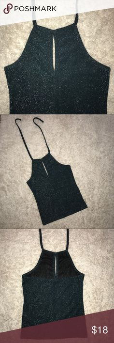 TOPSHOP Green Sparkly Halter Slightly cropped peep hole halter. Perfect for a night out. Looks amazing with black jeans. Thick and stretchy material. Topshop Tops Crop Tops