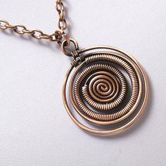 Wire Wrapped Spiral Pendant Necklace, Antiqued Copper Spiral Necklace