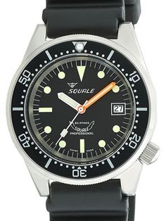 1521 series Squale dive watch with a sand-blasted 316L stainless steel case (42mm diameter) with a screw-in back. The watch is not numbered but it is only available for a limited period of time. The black dial features SuperLuminova treated luminescent hour markers and hands. A date window is at 3:00. Includes a uni-directional snap-on bezel with sixty minute markings. The SuperLuminova PIP is protected via a sapphire glass guard. Includes a scratch resistant sapphire crystal.