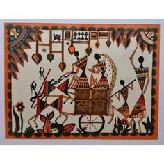 """WARLI PAINTING (ACRYLIC COLOURS ON PAPER), size 16""""x20"""" , 400gm - $15"""