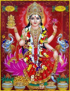 LAKSHMI DEVI Mother Goddess, Goddess Lakshmi, Goddess Art, Lakshmi Images, Lord Ganesha Paintings, Hindu Statues, Divine Mother, Hindu Deities, God Pictures