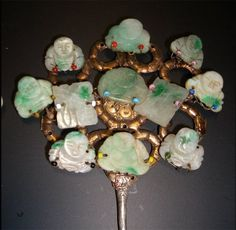 Jade Buddha hair pin. The Gina Hellweger Collection.