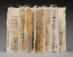Jody Alexander Decorative long stitch binding, library book date due pockets, mull and thread.GBW Marking Time Exhibition Exhibitors