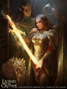 female, glowing weapon, dark hair, crown, fantasy, gold
