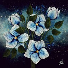 Blue flowers illustration Blue Flowers, Watercolour, Digital, Illustration, Painting, Art, Pen And Wash, Art Background, Watercolor Painting
