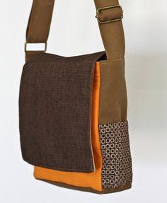 Small Canvas Shoulder bag - Black Orange and Brown, mens shoulder bags, everyday bag, small man bag, small messenger bag, back to school