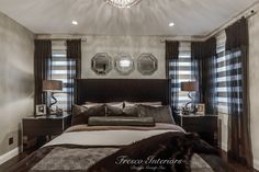 Luxurious black sheer drapery with silk pleated banding complement the custom-tailored bedding in this master bedroom White Bedroom, Master Bedroom, Bedroom Decor, Studded Headboard, Best Interior Design, Drapery, Fresco, Building A House, Bedding
