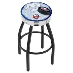 Chrome & Black New York Islanders Swivel Barstool