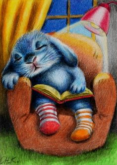 Abrigats per llegir i anar-se'n a dormir / Abrigados para leer e irse a dormir / Dresses for reading and going to sleep Children's Book Illustration, Illustrations, Reading Art, Bunny Art, I Love Books, Cute Drawings, Good Night, Cute Art, Book Worms