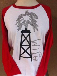Oilfield wife Glitter 3/4 sleeve Baseball 2 tone shirt. $28.00, via Etsy.