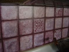 faux tile backsplash...texture with stamp