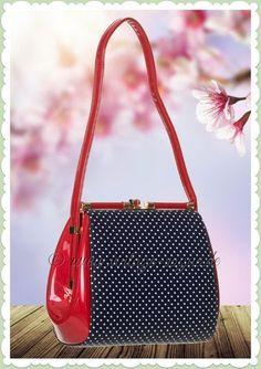 0a5282095d49a Banned 50er Jahre Vintage Punkte Handtasche - Do you Want me  - Rot Blau  50er