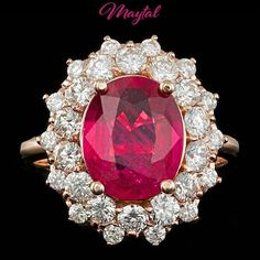 $7200 CERTIFIED 14K ROSE GOLD 3.50CT RUBY 1.60CT DIAMOND RING #Cocktail