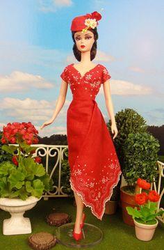 Crimson Cascade for Barbie & Victoire Roux by HankieChic on Etsy