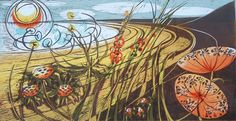 Rhossili by Judith Stroud, Welsh printmaker » this one wanders into an Angie Lewin color palette