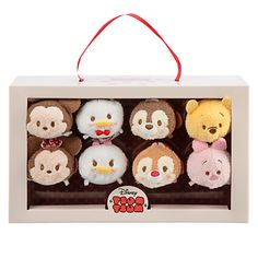 ~TSUM TSUM BOX ! Valentine's day ❤️8 plush tsum tsum in a box in the shapes of chocolates !- disney store~