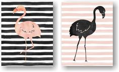 Black and Pink Flamingo Kitsch Tropical Watercolor Art Unframed Prints (Set of 2). Watercolor Floral Flamingo Art Print Set of 2. A modern take on the kitsch flamingo. Hang it in your bedroom or home office. Unframed Prints / Not Canvas The watercolor in the prints is not real watercolor, it's a printed image. 5x7, 11x14 & 12x16 sizes have a small border for easy framing with a mat 8X10 artwork is printed on a 8.5x11 inch sheet for easy framing with a mat Printed on premium heavyweight…