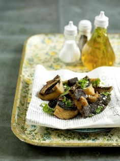 Mushrooms 'fish and chips style' with posh vinegar