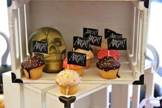 Loving the cupcakes at this pirate party!  See more party ideas and share yours at CatchMyParty.com #catchmyparty #partyideas #pirateparty #boybirthdayparty #cupcakes