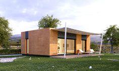 Perspectiva de vivienda de 54 m2 construidos de un dormitorio y espacios abiertos y comunicados. Ideal como casa de campo o de ampliación de vivienda existente, como pequeña vivienda de hijos emancipados, vivienda de los abuelos o de visitas. Está compuesta de 2 módulos de 3x9m.