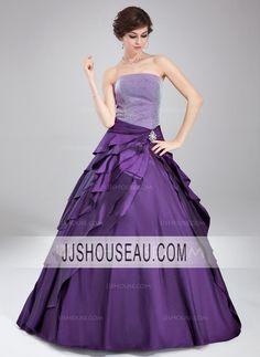 Ball-Gown Floor-Length Sleeveless Strapless Crystal Brooch  Cascading Ruffles Quinceanera Dress Quinceanera Dress