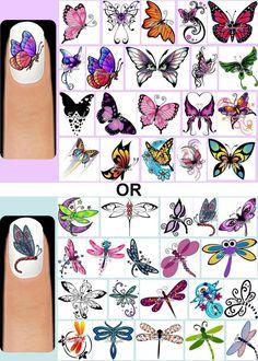Butterflies OR Dragonflies Nail Art Decals + Free Gems Butterfly Dragonfly Dragonfly Nail Art, Peacock Nail Art, Butterfly Nail Designs, Butterfly Nail Art, Diy Nail Designs, Nail Art Stickers, Nail Decals, Daisy Nail Art, Bright Nail Art