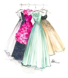 I'd like to try to sketch or paint something like this with my girls night out, rehearsal and wedding dresses | Katie Rodgers #watercolor #dress up dresses on Paper Fashion