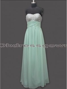 Junior Simple Strapless Mint prom dress with Sequins